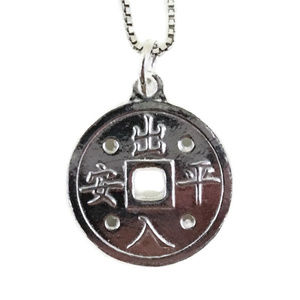white gold on silver pendant round safety fortune